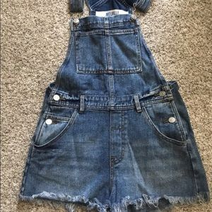 Jean overalls shorts